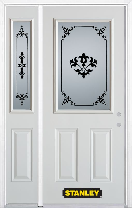 52-inch x 82-inch Renoir 1/2-Lite 2-Panel White Steel Entry Door with Sidelite and Brickmould
