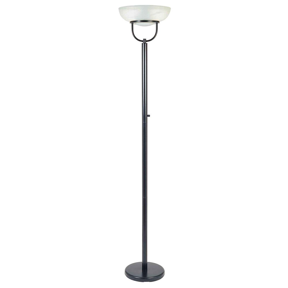 Black Touchiere Floor Lamp with Alabaster Glass & On/Off Switch