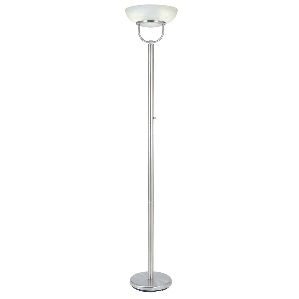 Brushed Nickel Touchiere Floor Lamp with Alabaster Glass & On/Off Switch