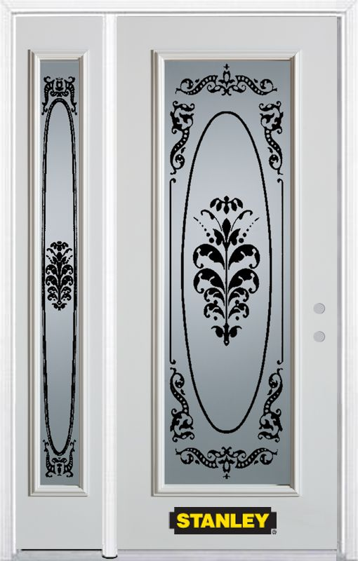 48-inch x 82-inch Renoir Full Lite White Steel Entry Door with Sidelite and Brickmould