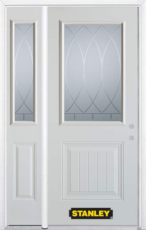 52-inch x 82-inch Bourgogne 1/2-Lite 1-Panel White Steel Entry Door with Sidelite and Brickmould
