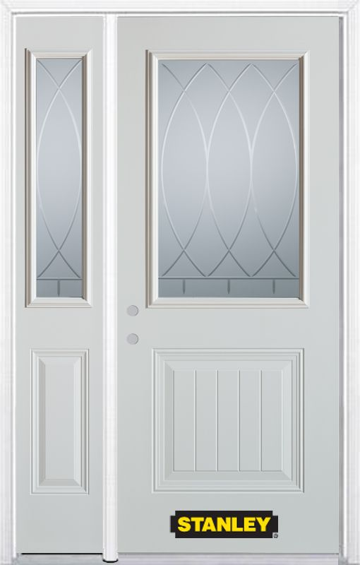 50-inch x 82-inch Bourgogne 1/2-Lite 1-Panel White Steel Entry Door with Sidelite and Brickmould