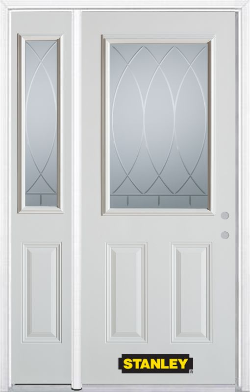 50-inch x 82-inch Bourgogne 1/2-Lite 2-Panel White Steel Entry Door with Sidelite and Brickmould