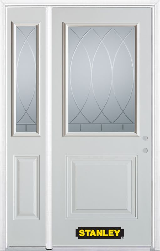 48-inch x 82-inch Bourgogne 1/2-Lite 1-Panel White Steel Entry Door with Sidelite and Brickmould