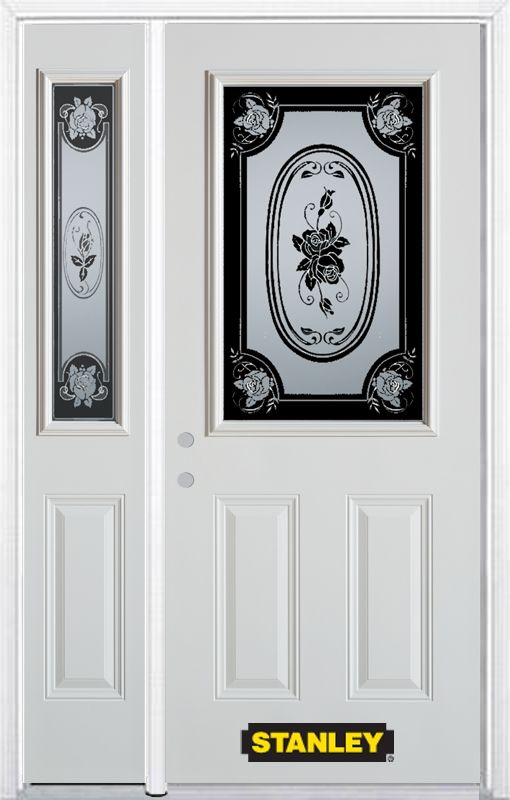 Stanley Doors 52.75 inch x 82.375 inch Mtisse 1/2 Lite 2-Panel Prefinished White Right-Hand Inswing Steel Prehung Front Door with Sidelite and Brickmould