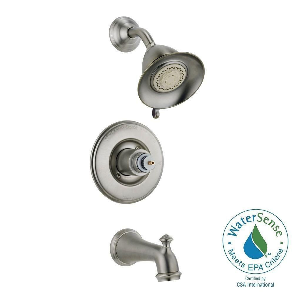 Victorian Collection 14 Series Bath/Shower Faucet in Stainless Steel