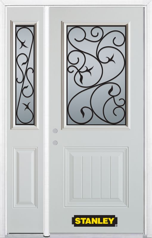 50-inch x 82-inch Borduas 1/2-Lite 1-Panel White Steel Entry Door with Sidelite and Brickmould