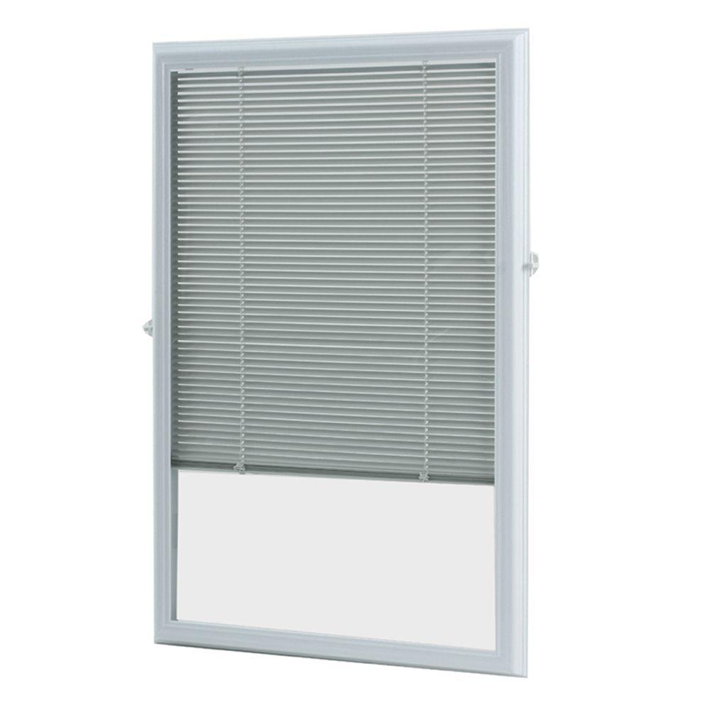 20-inch x 36-inch White Aluminum Add-on Blind for Half Light Doors