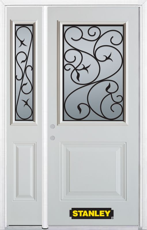 52-inch x 82-inch Borduas 1/2-Lite 1-Panel White Steel Entry Door with Sidelite and Brickmould
