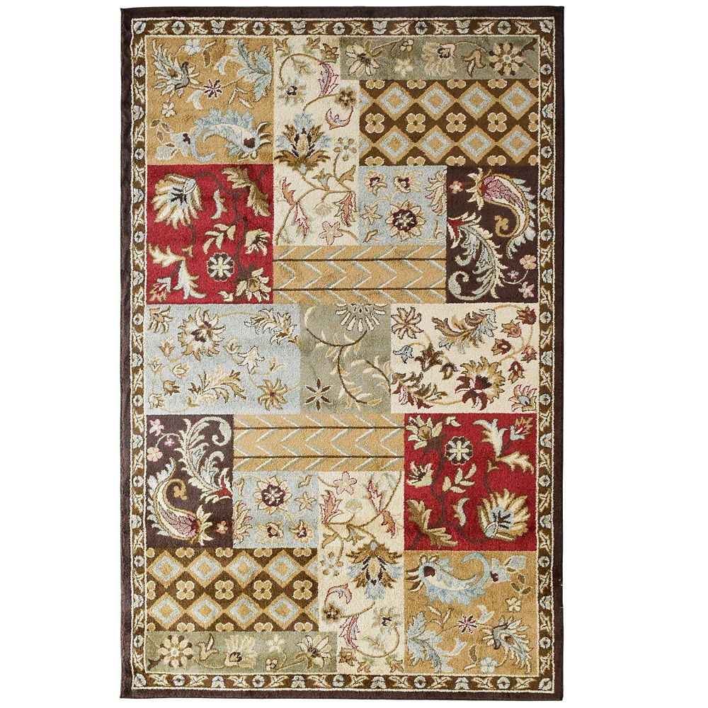 Red Patchwork  5 Ft. x 7 Ft. 6 In. Area Rug