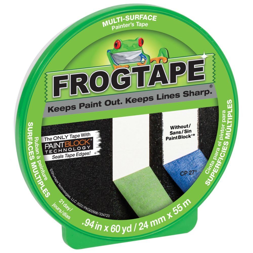 FrogTape Multi-Surface Painter's Tape with PaintBlock, 0.94 inch x 60 yds., Green