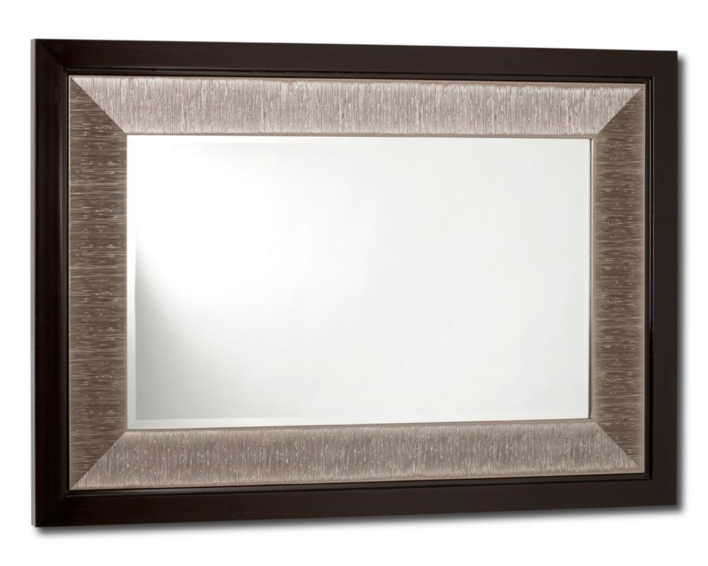Milano, Mirror, Brown Gloss/ Silver hairline inlay - 18 Inch x 30 Inch