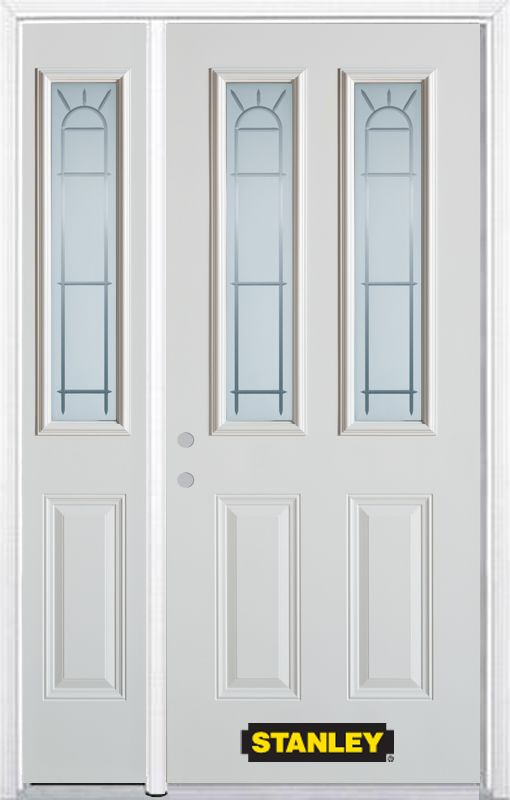 48-inch x 82-inch Chablis 2-Lite 2-Panel White Steel Entry Door with Sidelite and Brickmould