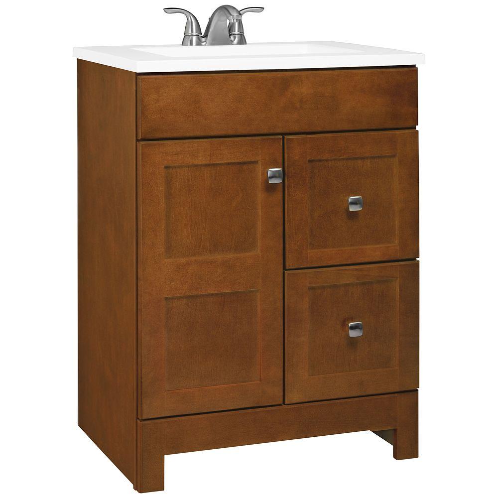 glacier bay meuble lavabo couleur ch taigne avec dessus avec lavabo carr blanc 24 5 po de. Black Bedroom Furniture Sets. Home Design Ideas