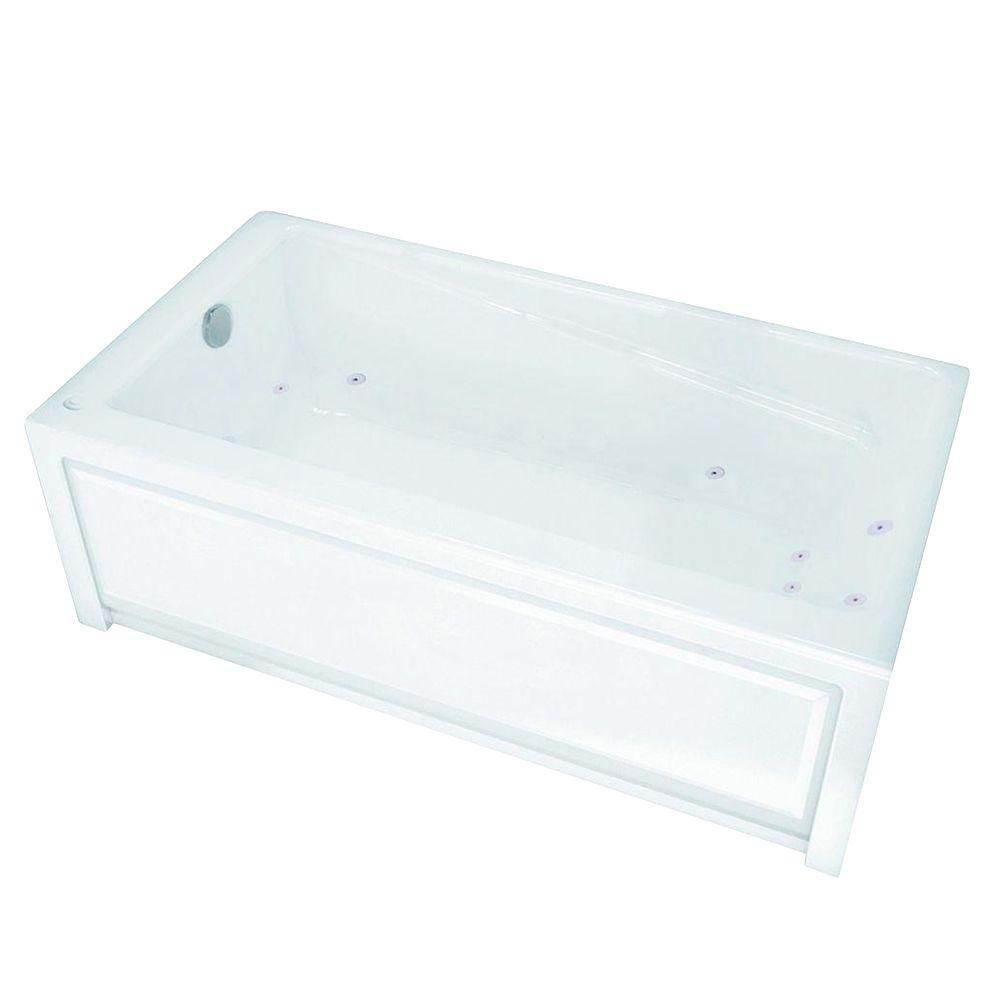 New Town 6032IFS White Acrylic Whirlpool Tub with Integrated Flange and Skirt with Left-Hand Drai...