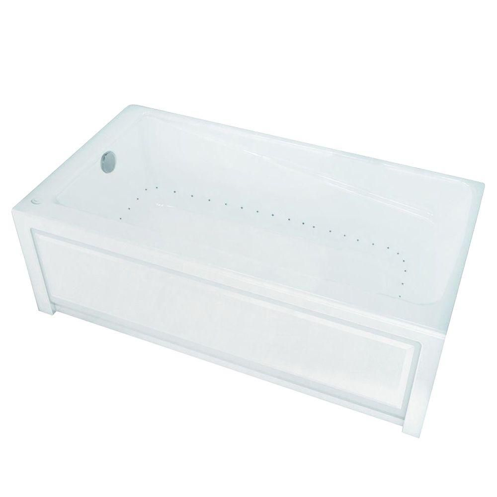 New Town 6032IFS Aerosens White Acrylic Tub with Integrated Flange and Skirt with Left-Hand Drain