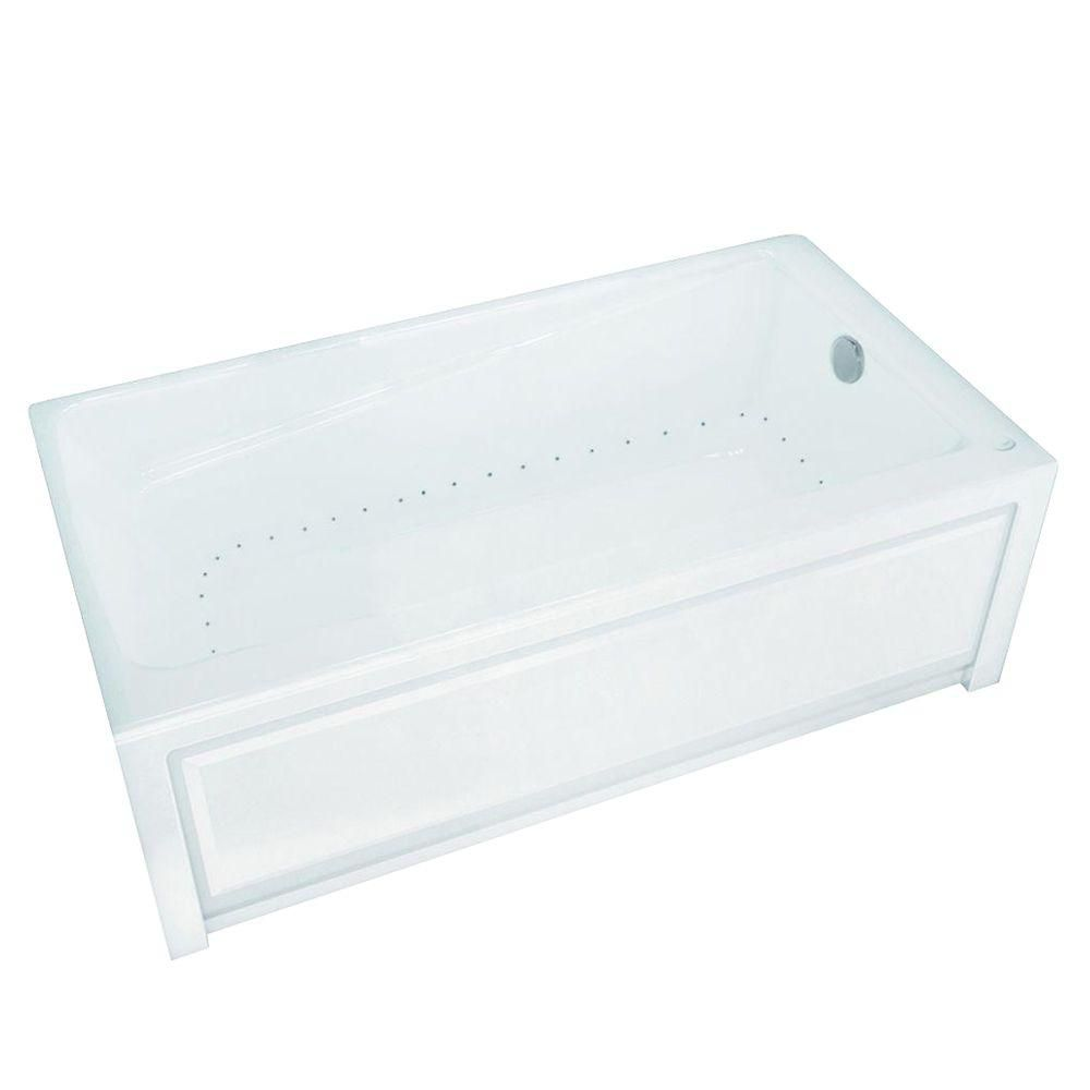 New Town 6032IFS Aerosens White Acrylic Tub with Integrated Flange and Skirt with Right-Hand Drai...
