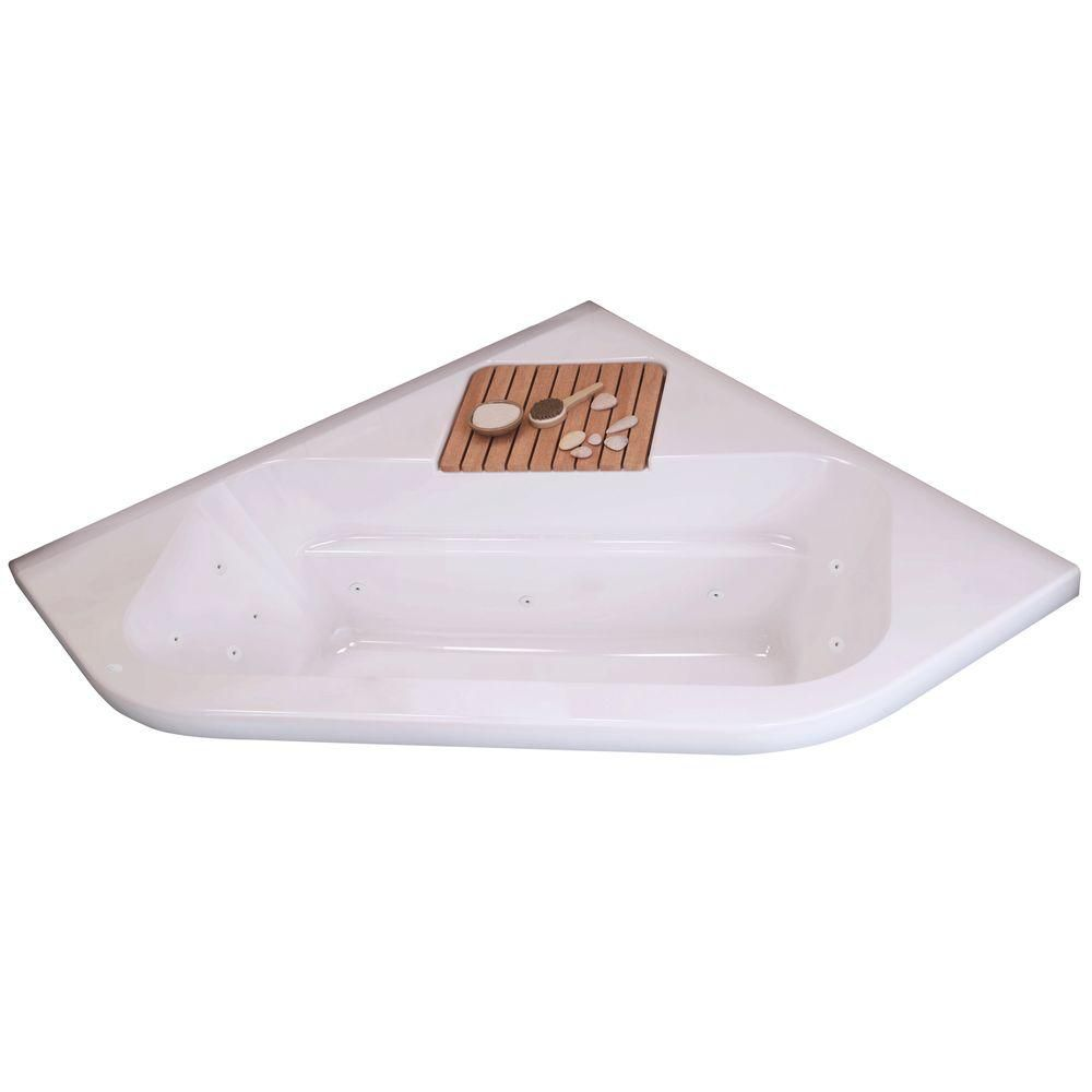 New Town 6060 White Acrylic Whirlpool Corner Tub With 10 Microjets 105450-091-001-100 Canada Discount