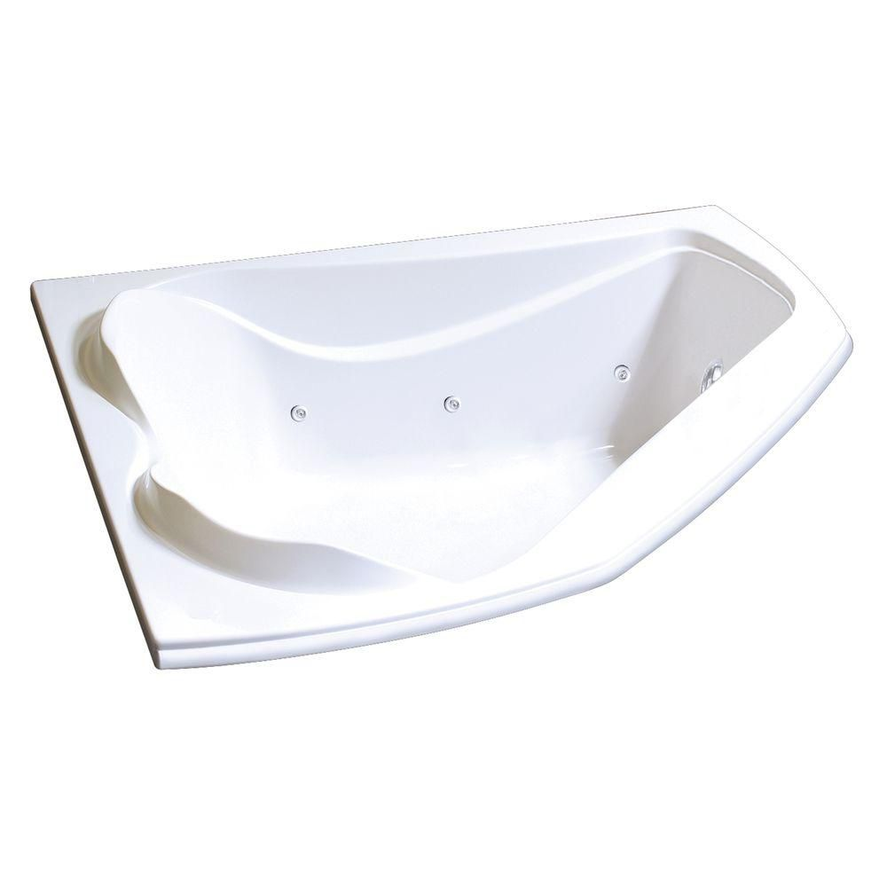 Cocoon Acrylic Whirlpool Corner Tub with Hydrosens in White