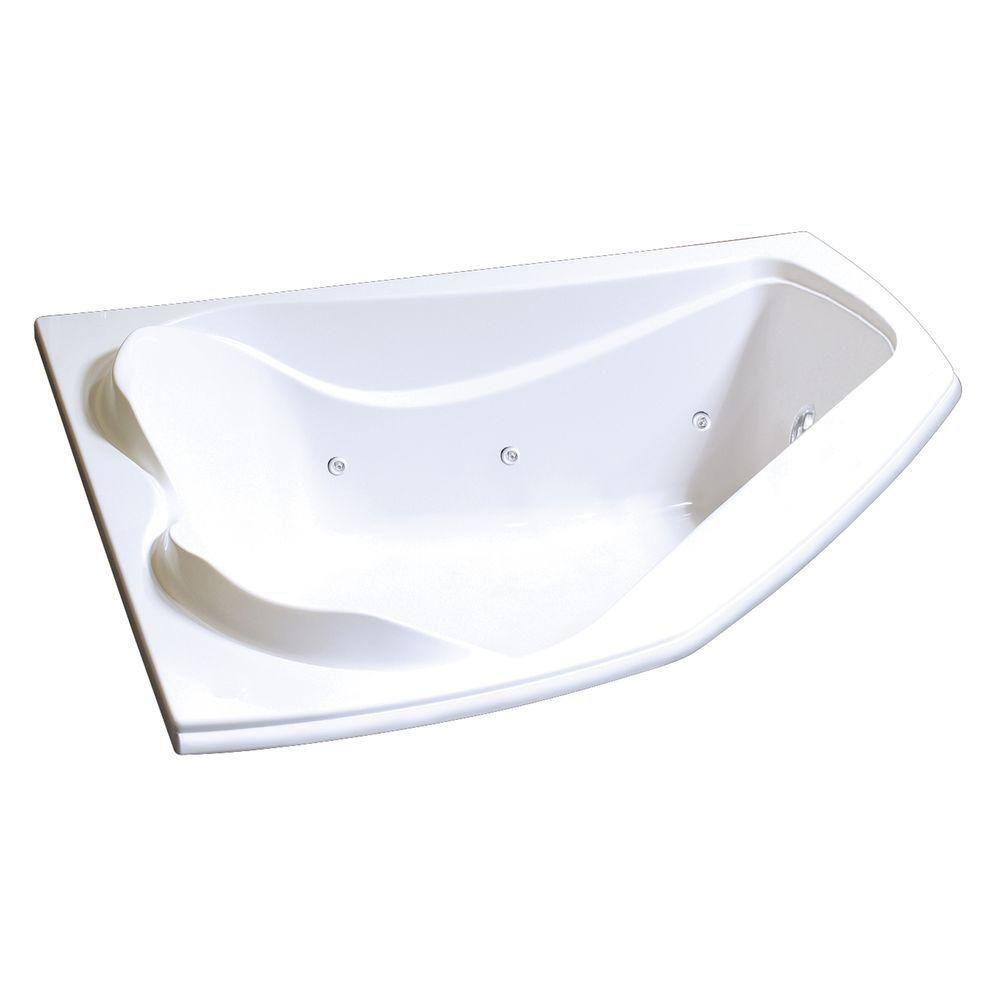 Bain Cocoon 6054 de coin en acrylique blanc avec système tourbillon Hydrosens