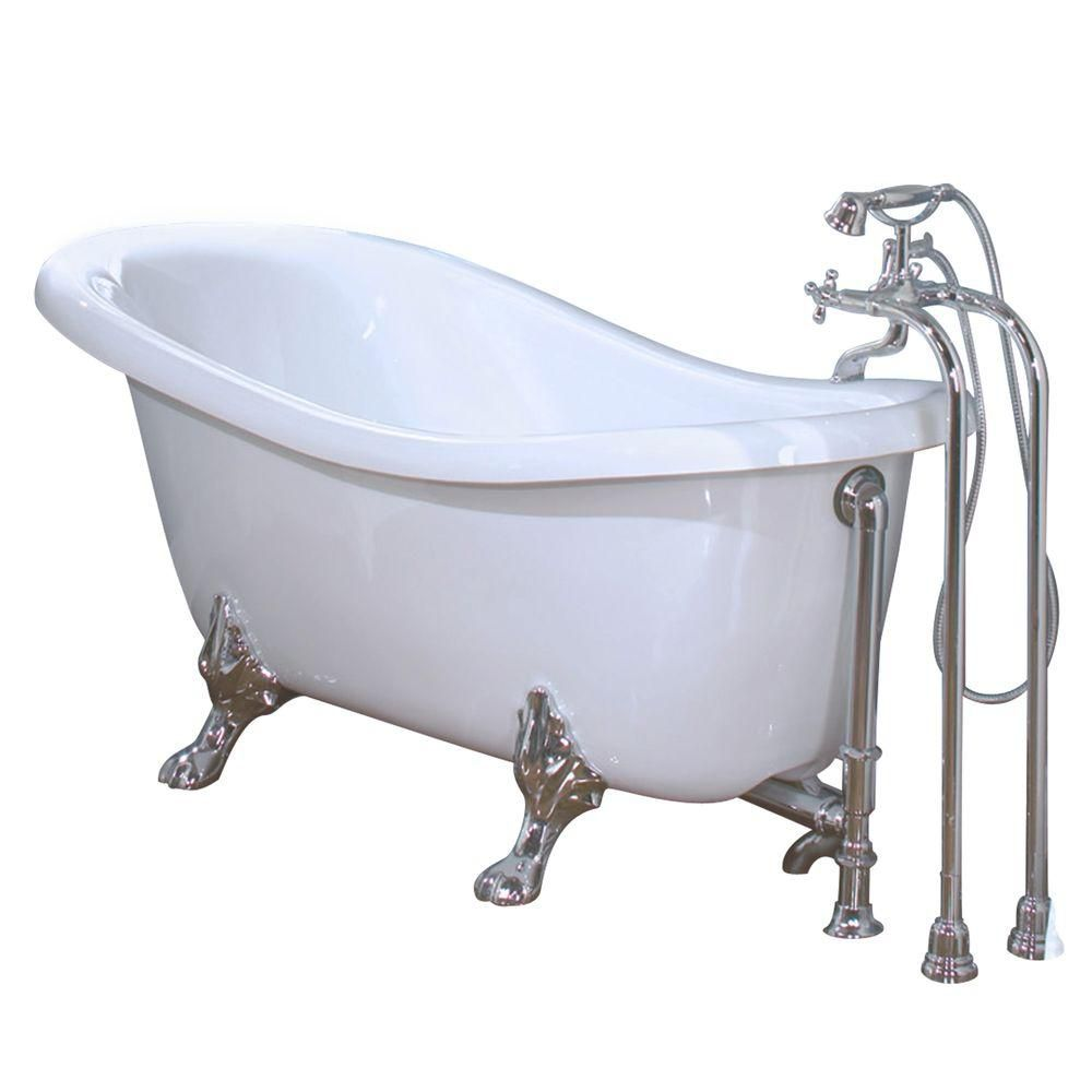 MAAX Daydream 6631 White Acrylic Clawfoot Tub Brushed Nickel Feet The Home