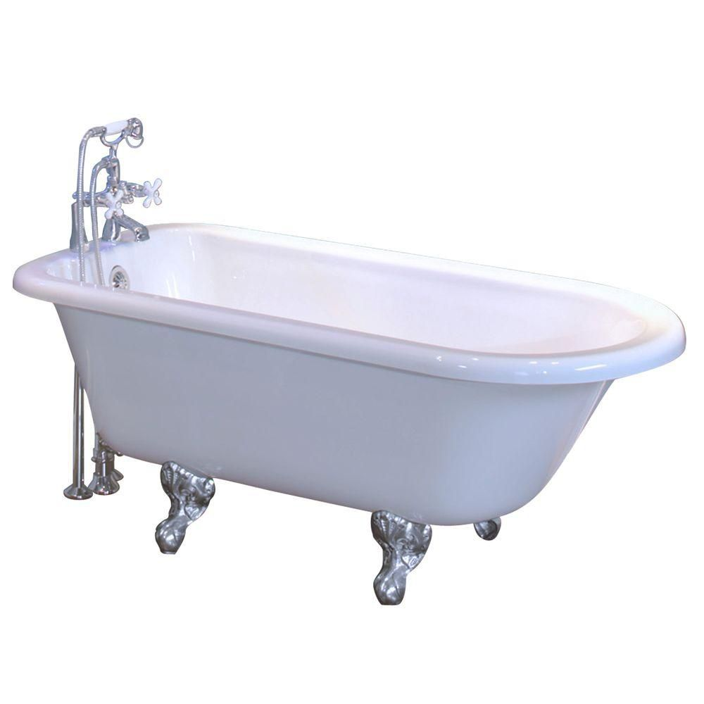 Maax Daydream 5830 White Acrylic Clawfoot Tub Chrome Feet The Home Depot Ca