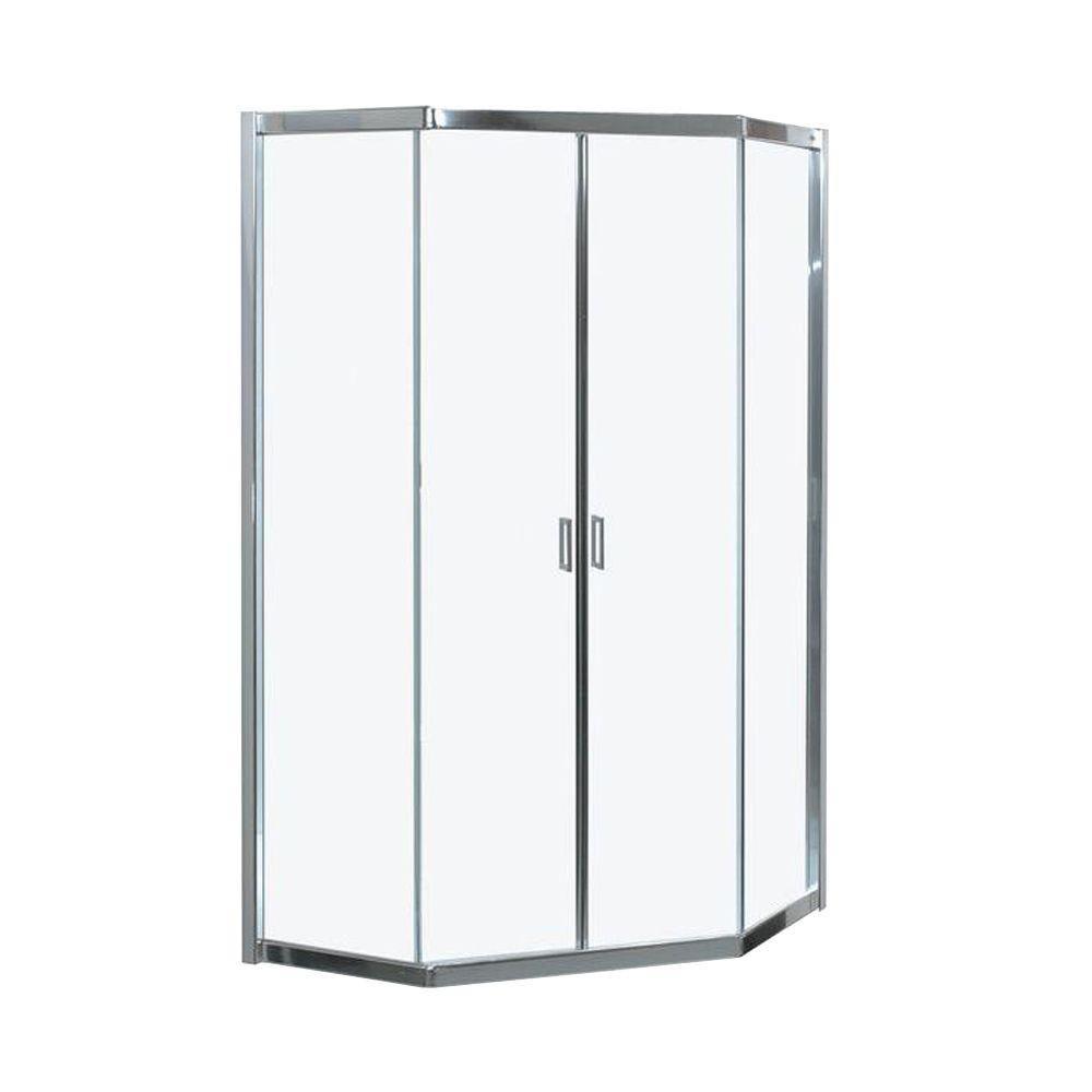 """Intuition 38"""" -Porte de douche de coin néo-angle sans cadre avec verre clair"""