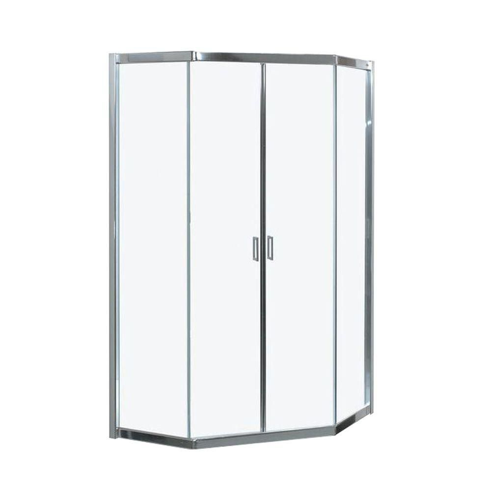 MAAX Intuition Neo Angle Frameless Mistelite Glass Corner Shower Door The H