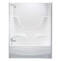 MAAX Montego II -Baignoire-douche 2 pièces en acrylique blanc avec drain à gauche