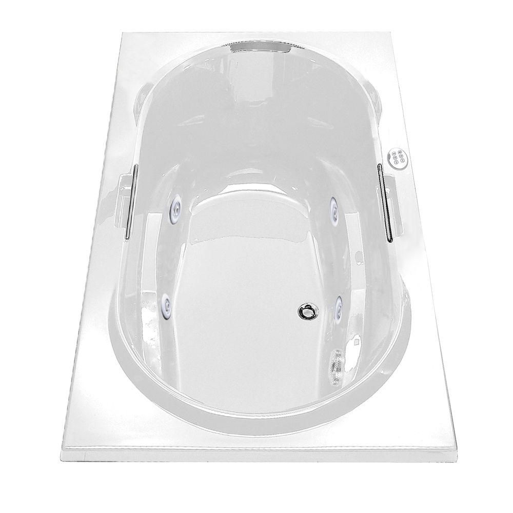 Antigua White Acrylic Whirlpool Tub With Hydrosens with Polished Chrome Grab Bars 101250-107-001-100 Canada Discount