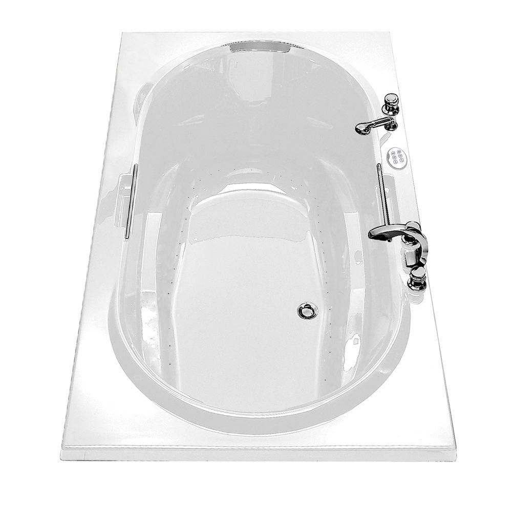 MAAX Antigua Aerosens Acrylic Bathtub with Polished Chrome Grab Bars in White