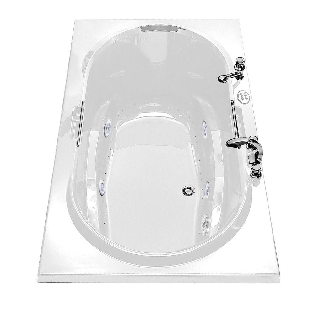 Antigua White Acrylic Tub with Combined Hydrosens and Aerosens and Polished Chrome Grab Bars 101250-109-001-100 Canada Discount