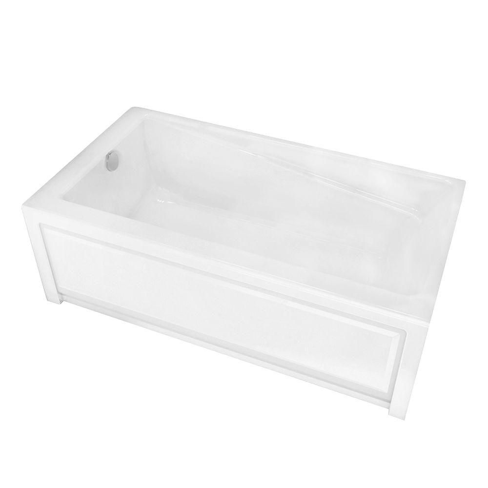 MAAX New Town 6030IFS White Acrylic Soaker Tub with Integrated Flange and Skirt with Left-Hand Drain