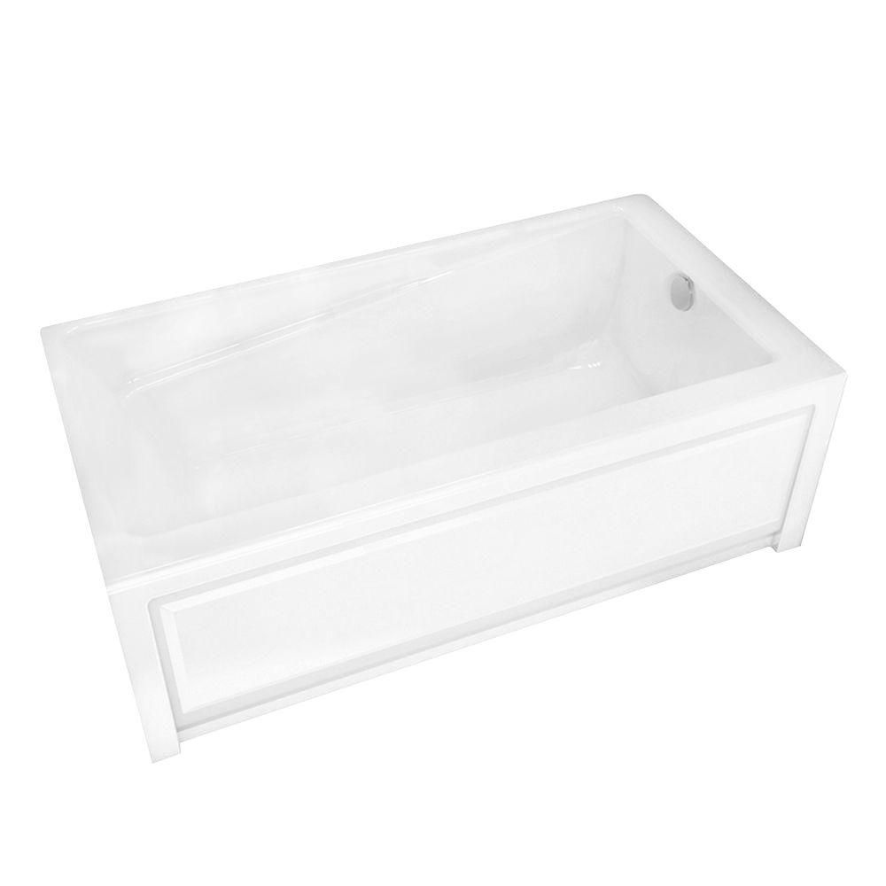 New town 6030 ifs white acrylic soaker tub right drain for Acrylic soaker tub