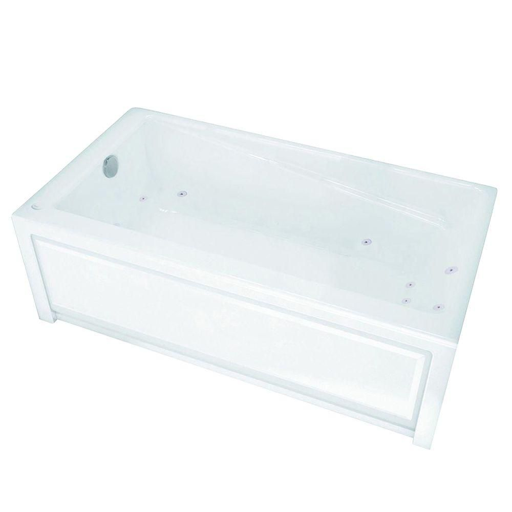 New Town 6030IFS White Acrylic Whirlpool Tub with Integrated Flange and Skirt with Left-Hand Drai...