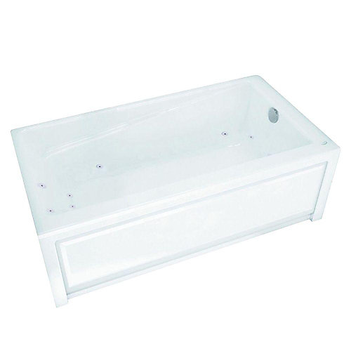 New Town 6030IFS White Acrylic Whirlpool Tub with Integral Flange and Skirt with Right-Hand Drain