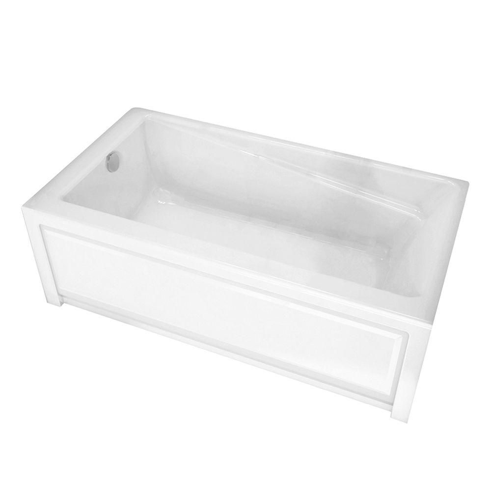 MAAX New Town 6032IFS White Acrylic Soaker Tub with Integrated Flange and Skirt with Left-Hand Drain