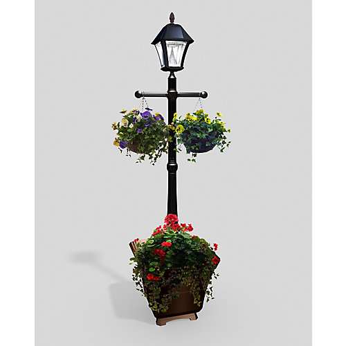 Gama Sonic Baytown Black Solar Lamp Post With Planter Base The
