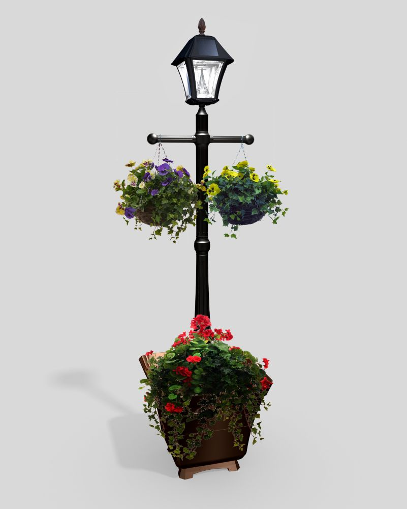 Lamp post lights solar led more the home depot canada baytown solar black outdoor integrated led freestanding lamp post with planter base aloadofball Image collections