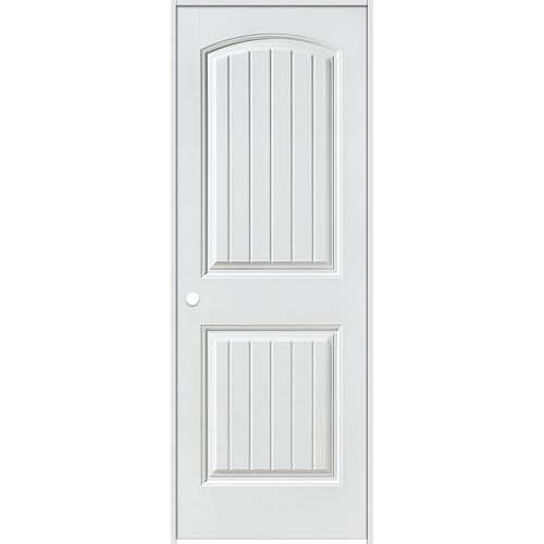 Masonite 32-inch x 80-inch Righthand Primed 2-Panel Plank Smooth Prehung Interior Door with Rabbeted Jamb
