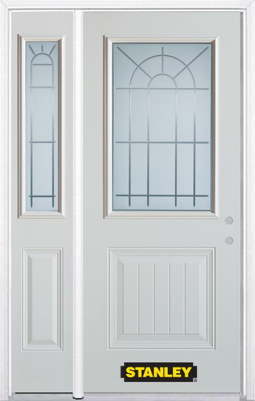 48-inch x 82-inch Chablis 1/2-Lite 1-Panel White Steel Entry Door with Sidelite and Brickmould