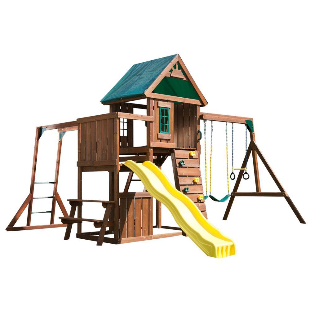 Swing-N-Slide Chesapeake Complete Wood Playset with Swings, Climbing Wall, Slide, and Monkey Bars