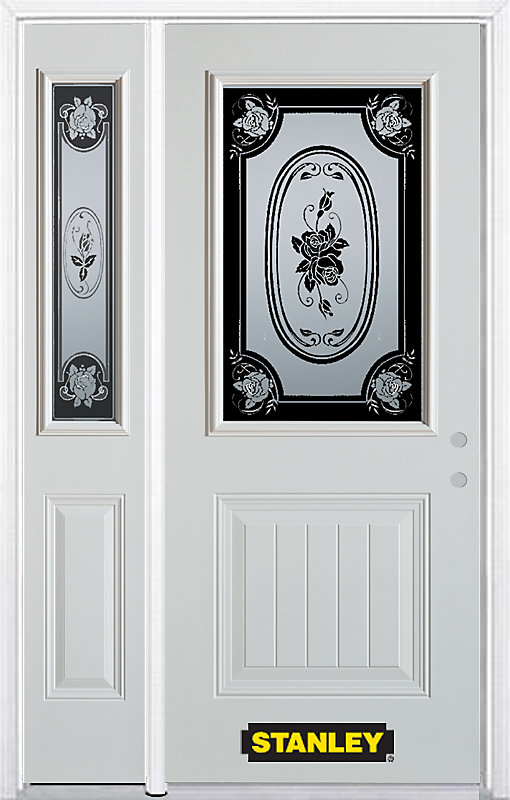 48.25 inch x 82.375 inch Mtisse 1/2 Lite 1-Panel Prefinished White Left-Hand Inswing Steel Prehung Front Door with Sidelite and Brickmould