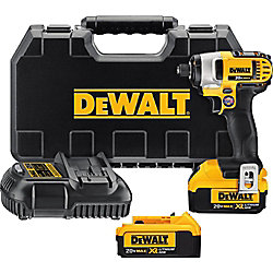 DEWALT 20V MAX Lithium-Ion Cordless 1/4-inch Impact Driver Kit with (2) Batteries 4Ah, Charger and Case