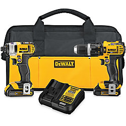 DEWALT 20V MAX Li-Ion Cordless Hammer Drill/Impact Driver Combo Kit (2-Tool) w/ (2) Batteries 1.5Ah, Charger and Bag