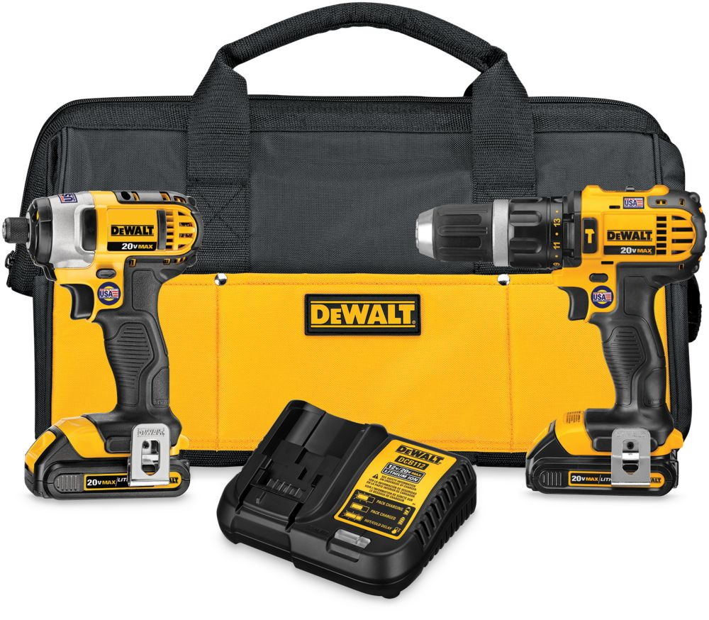 DEWALT 20V MAX Li-Ion Cordless Hammer Drill/Impact Driver Combo Kit (2-Tool) with Batteries Charger and Bag