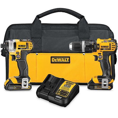 DEWALT 20V MAX Li-Ion Cordless Hammer Drill/Impact Driver Combo Kit (2-Tool) w/ (2) Batteries 1.5Ah, Charger and Bag