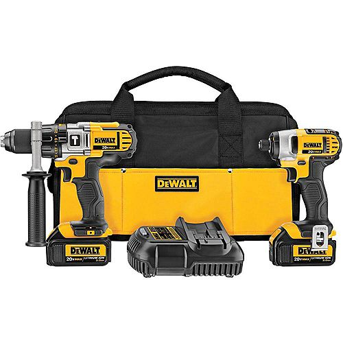 DEWALT 20V MAX Li-Ion Cordless Hammer Drill/Impact Driver Combo Kit (2-Tool) w/ (2) Batteries 3.0Ah, Charger and Bag