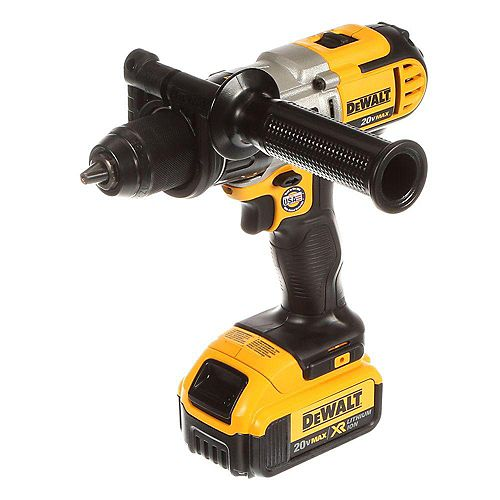 DEWALT 20V Max Lithium-Ion Cordless 1/2-inch Hammer Drill with 2 Batteries 4 Ah 1-Hour Charger and Case