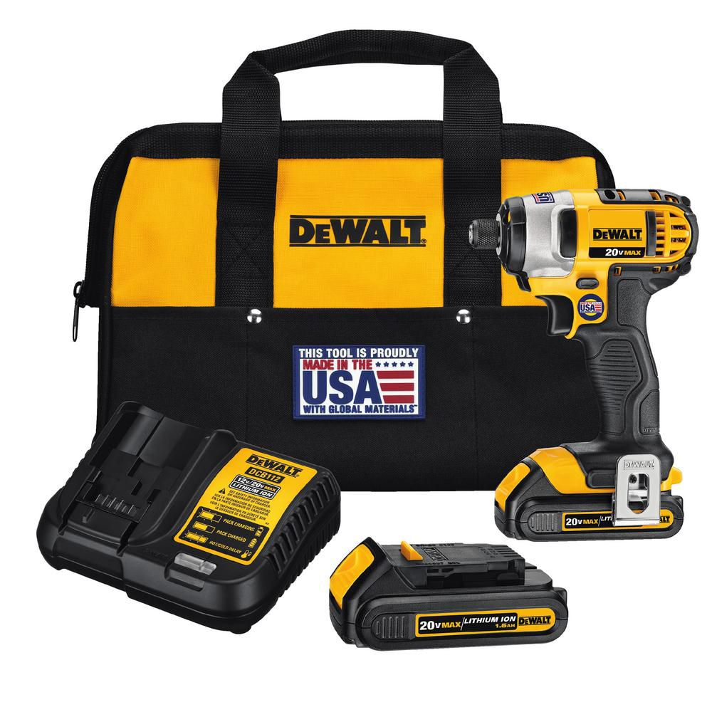 DEWALT 20V MAX 1/4-inch Lithium-Ion Impact Driver Kit with Battery, Charger & Bag